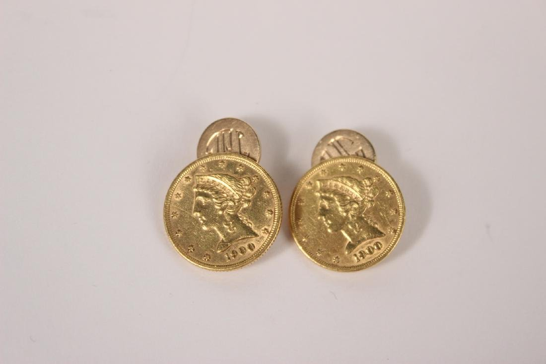 Pair of US Five Dollar Gold Coin Cufflinks