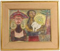 MIXED MEDIA ON PAPER, THREE FIGURES, REX CLAWSON