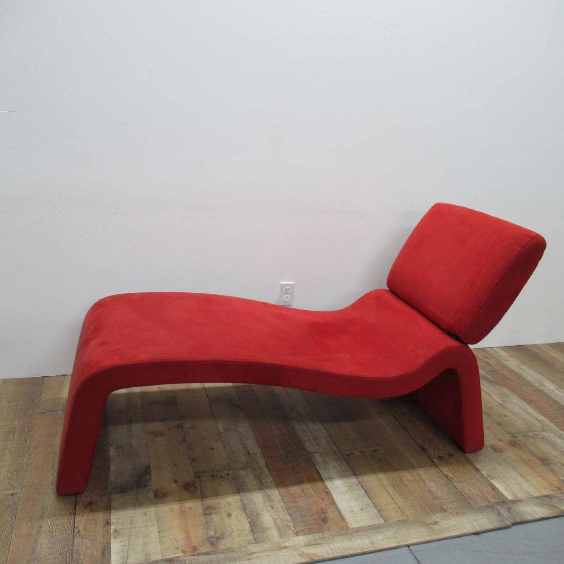 RED SUEDE UPHOLSTERED CHAISE LOUNGE CHAIR