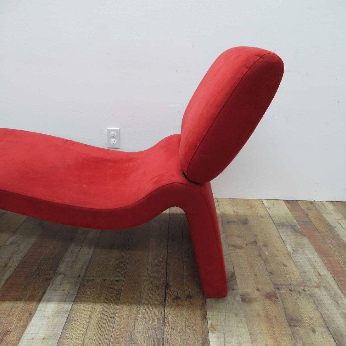 RED SUEDE UPHOLSTERED CHAISE LOUNGE CHAIR - 2