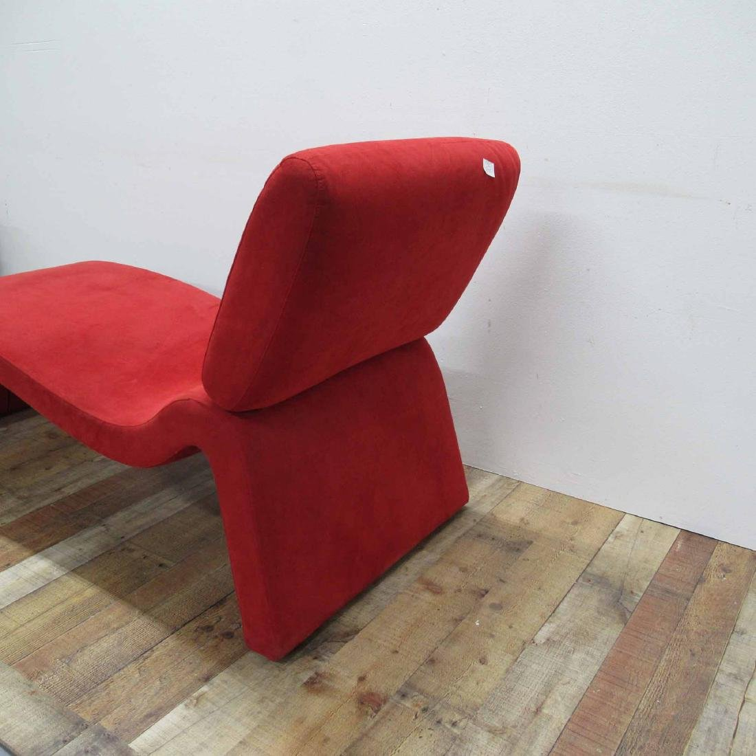 RED SUEDE UPHOLSTERED CHAISE LOUNGE CHAIR - 3