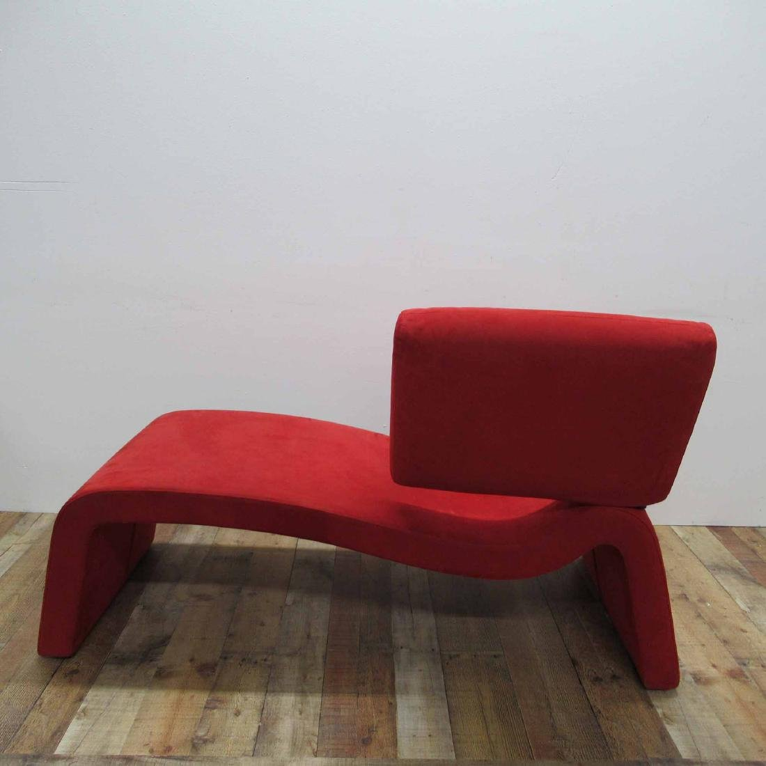 RED SUEDE UPHOLSTERED CHAISE LOUNGE CHAIR - 4