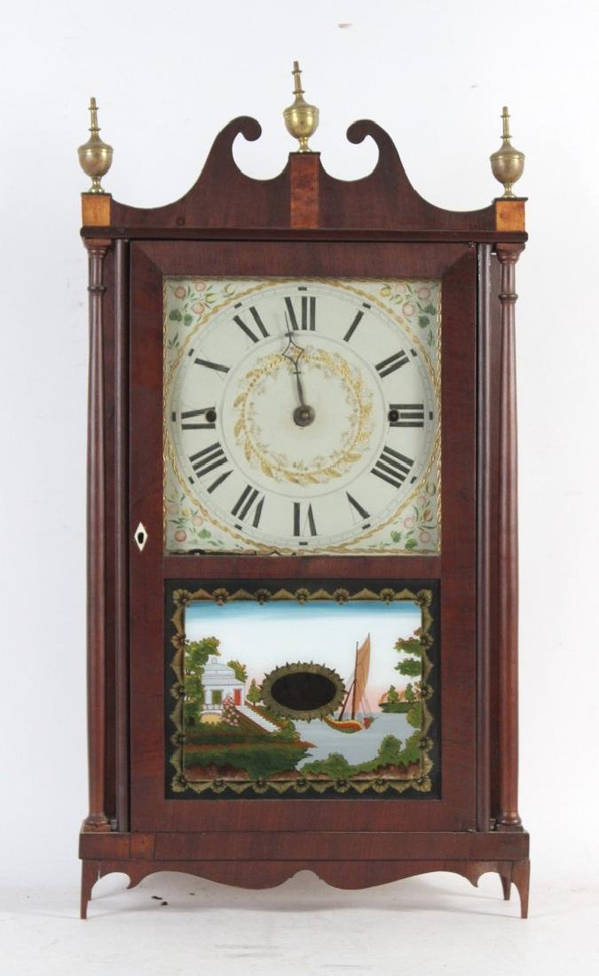 Federal Mahogany and Eglomise Shelf Clock