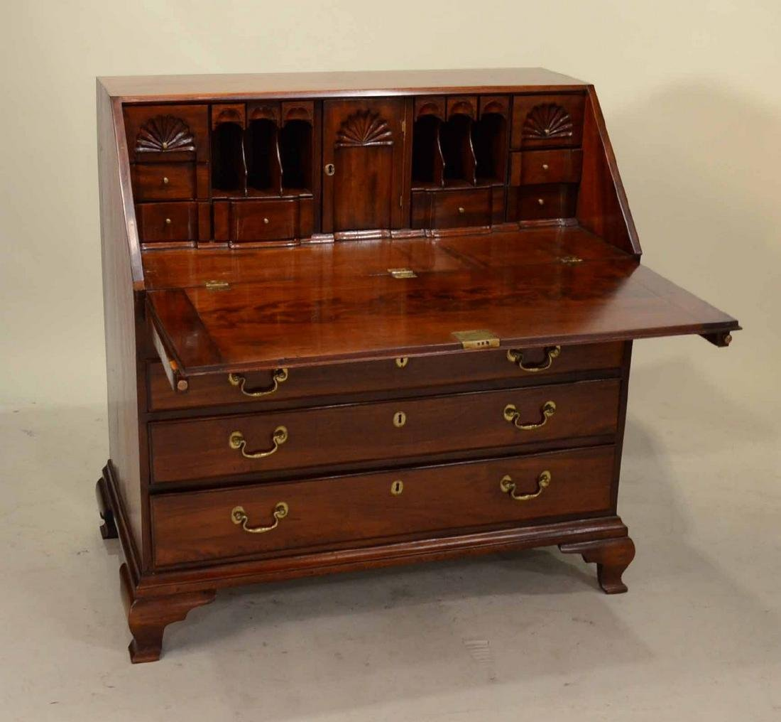 Chippendale Carved Mahogany Slant-Front Desk