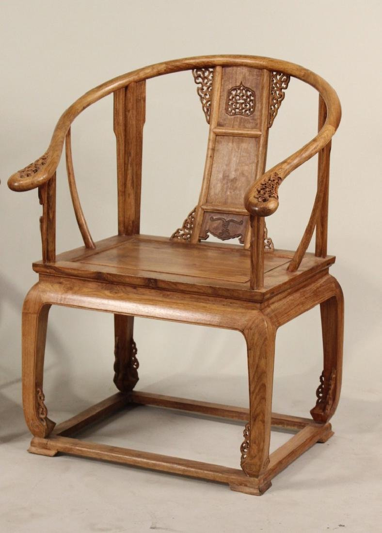 Two Huang Huali Horse-Shoe Back Armchairs - 2