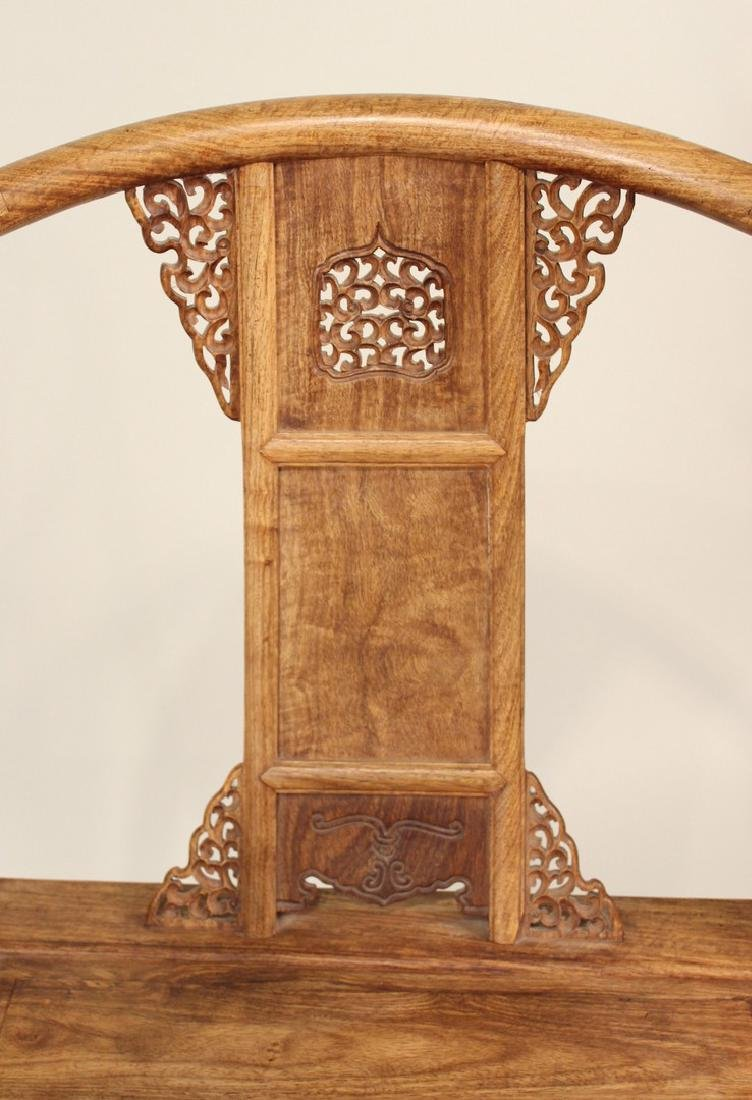 Two Huang Huali Horse-Shoe Back Armchairs - 4