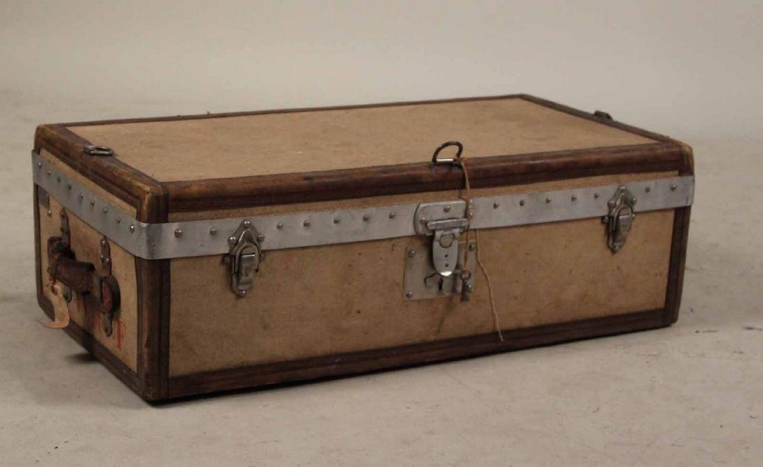 Canvas and Leather-Covered Trunk