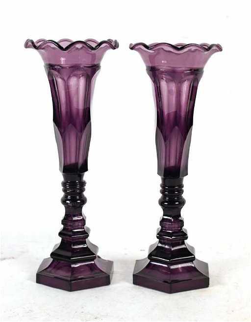 Pair Of Deep Amethyst Pressed Glass Vases