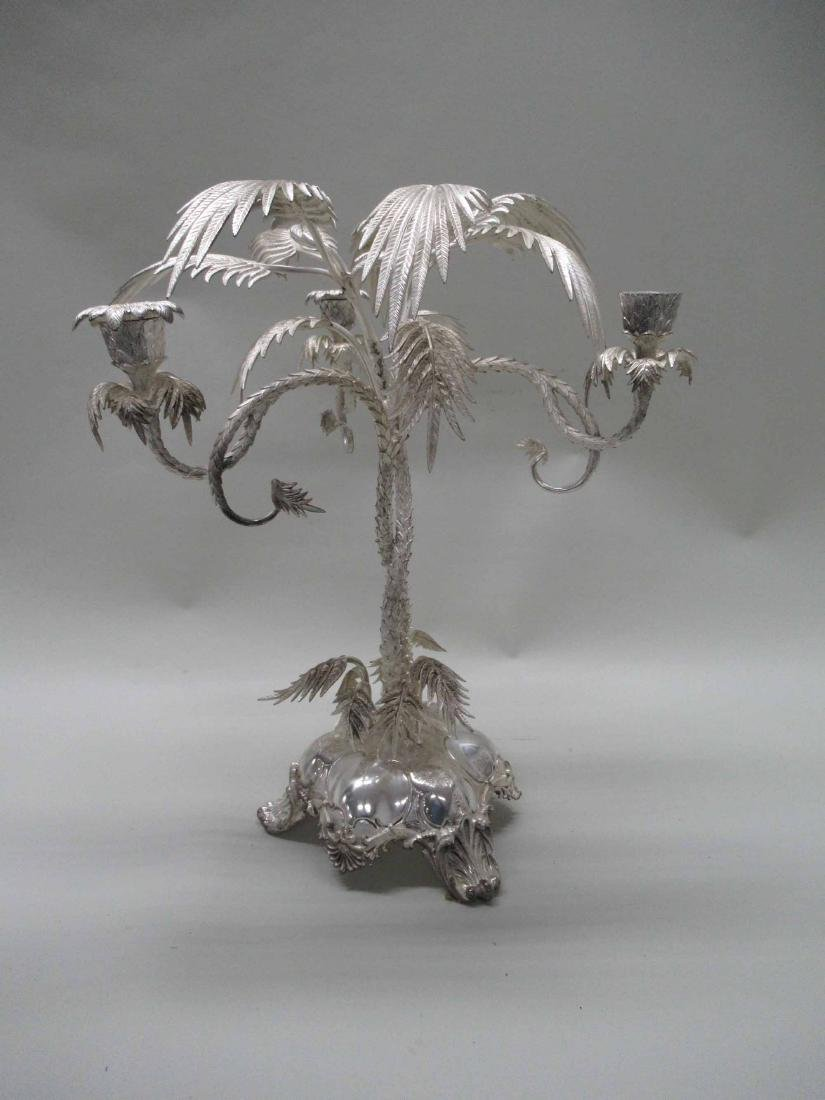 PALM TREE SILVER PLATED CANDLABRUM