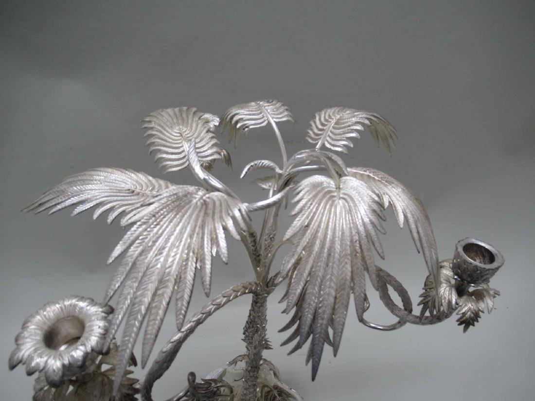 PALM TREE SILVER PLATED CANDLABRUM - 2