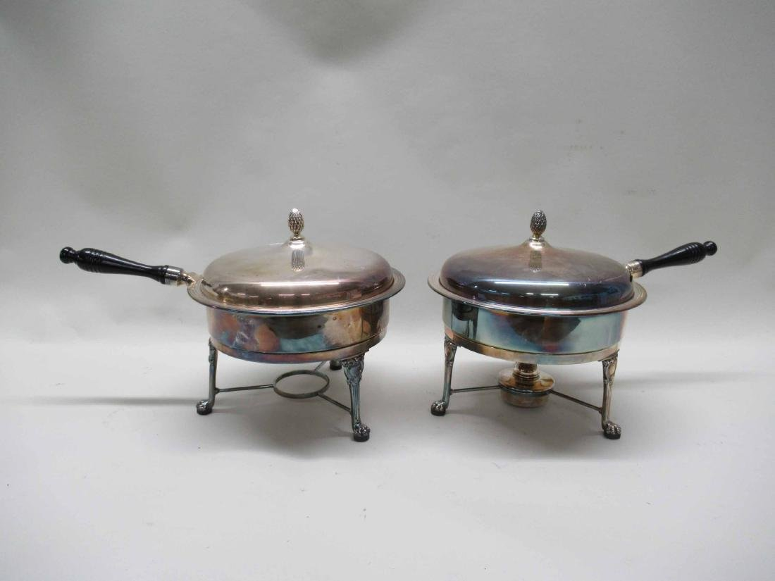 PAIR OF SILVER PLATED CHAFING DISHES