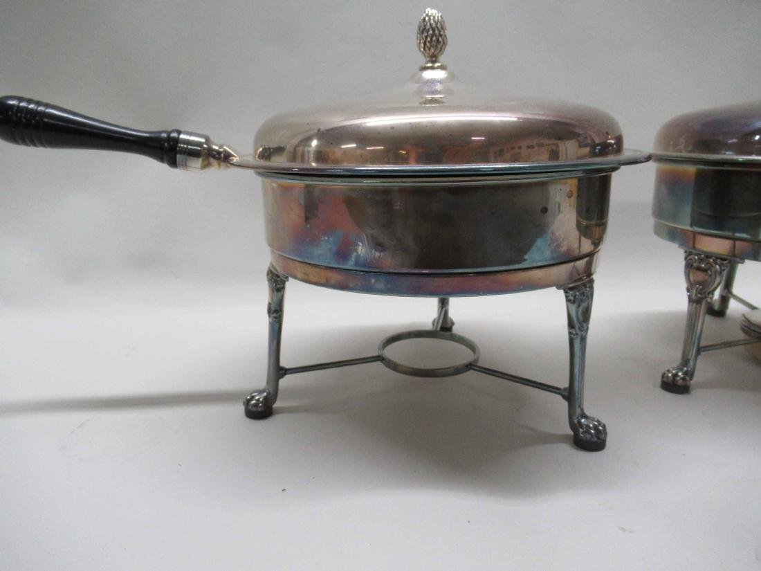 PAIR OF SILVER PLATED CHAFING DISHES - 2