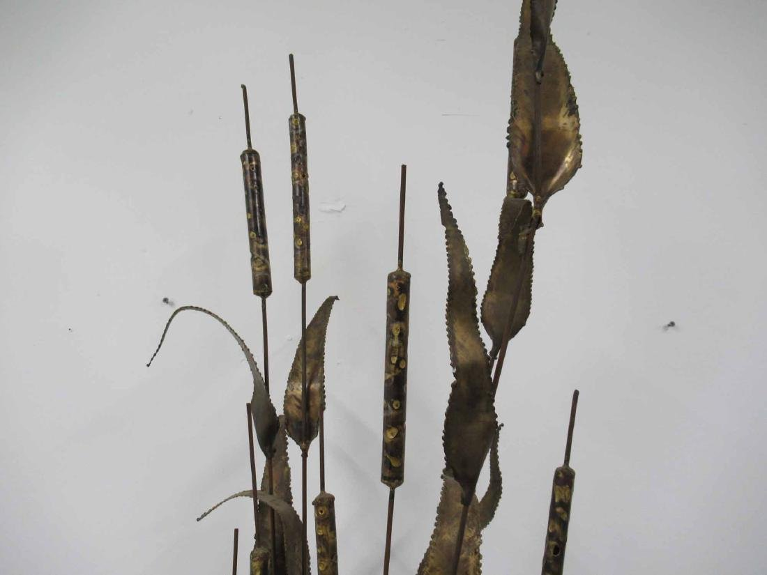 BRONZE CAT TAILS SCULPTURE ON WOODEN BASE - 2