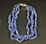 Three Strand Tanzanite Beaded Necklace
