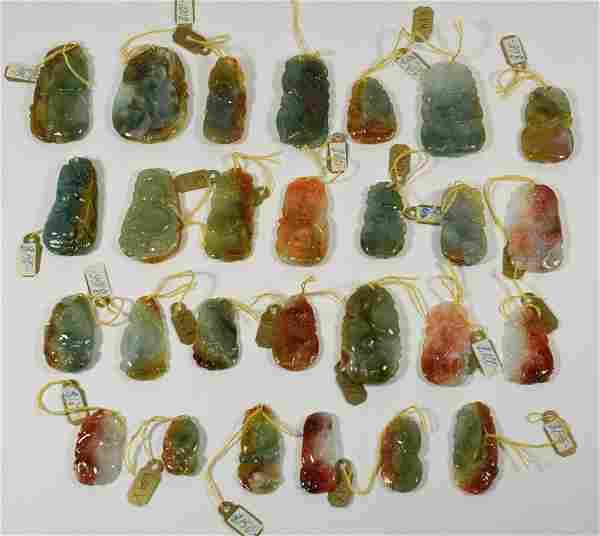 Twenty Seven Carved & Polished Jade Pendants