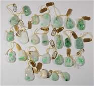 Twenty Five Carved & Polished Jade Pendants