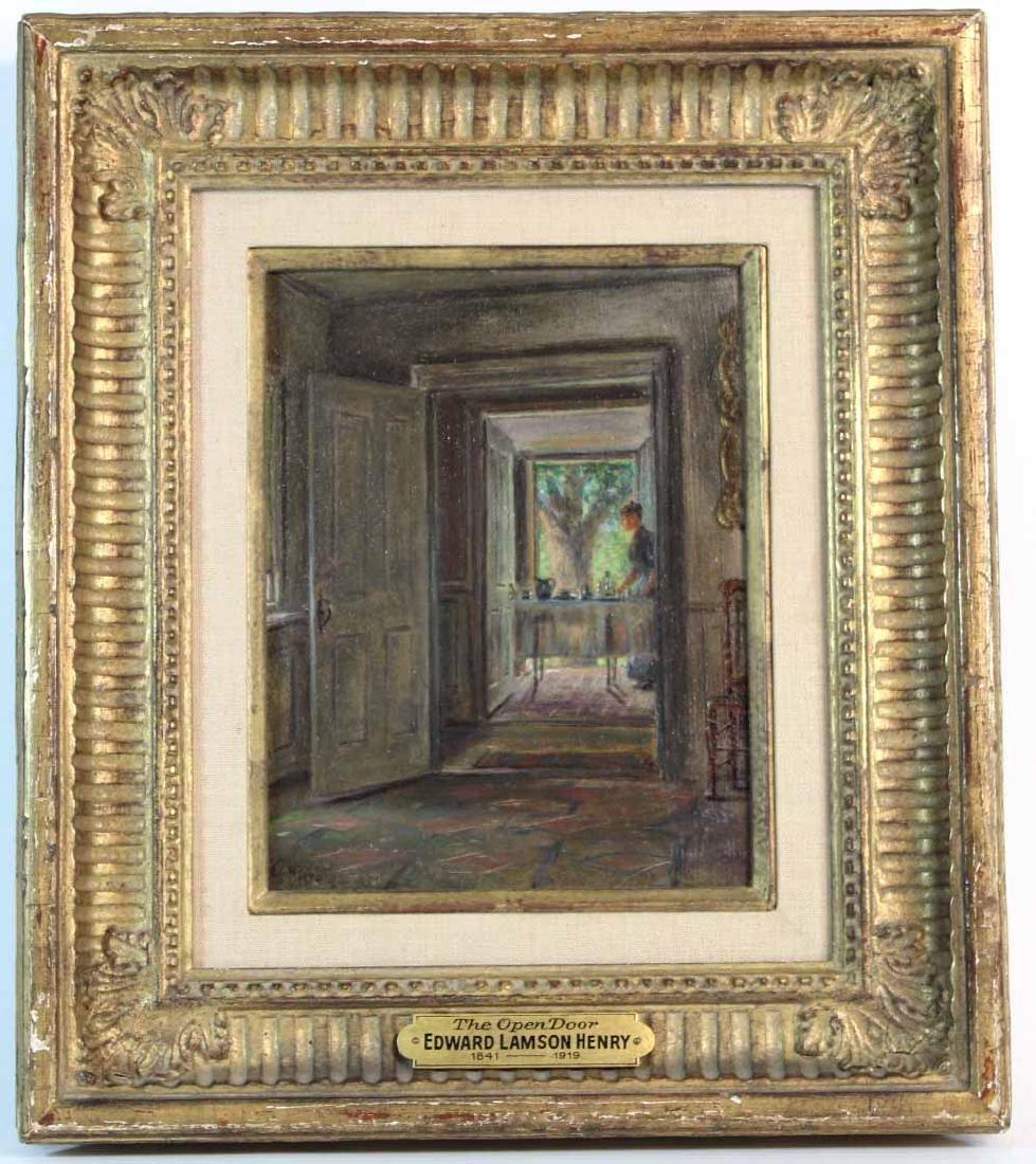 """Oil on Board, """"Open Door,"""" Edward Lamson Henry"""