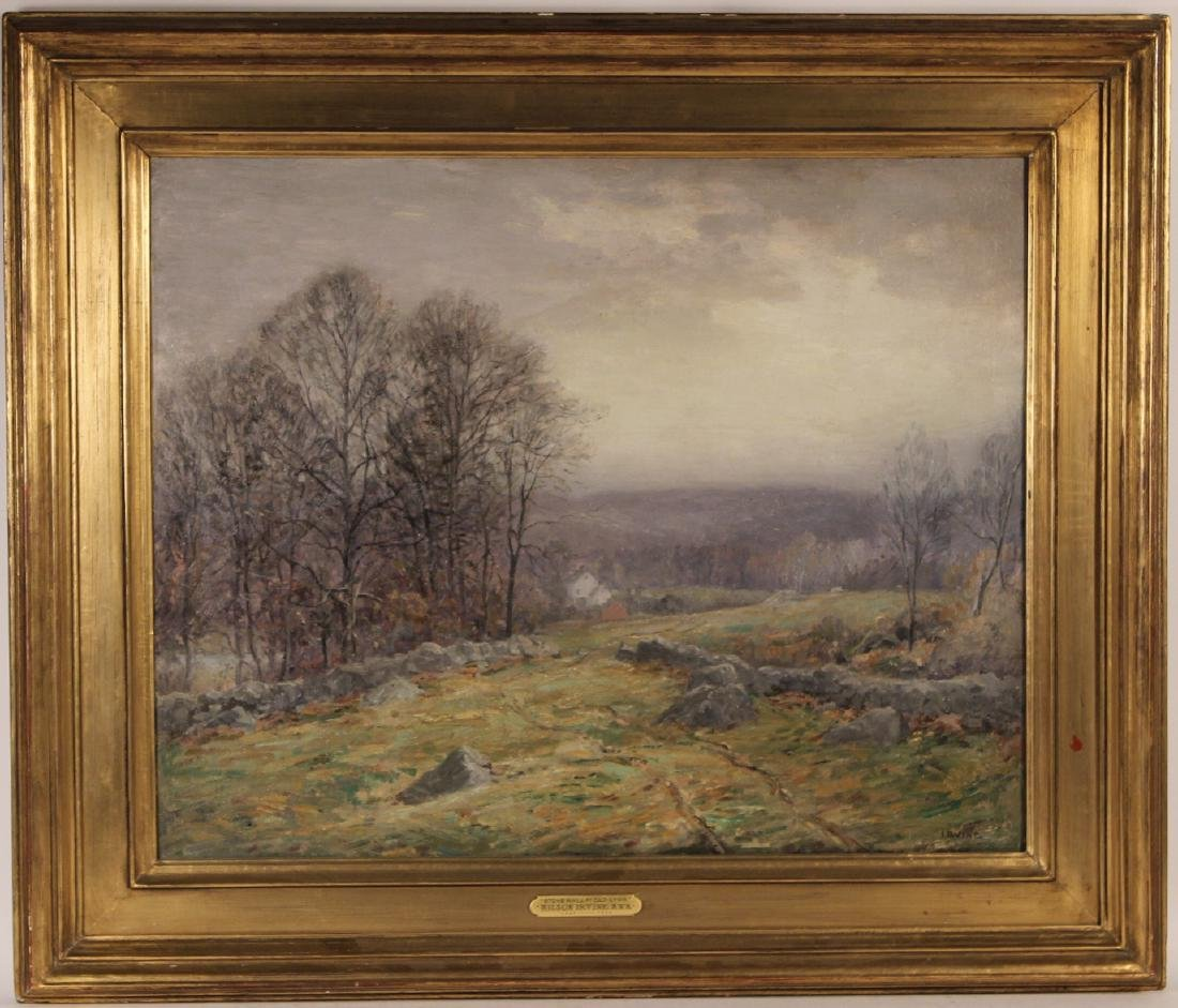 Oil on Canvas, Stone Wall Old Lyme, Wilson Irvine