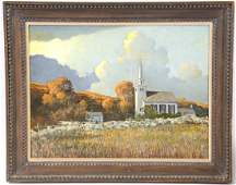 "Oil on Masonite, ""Old North Church,"" Eric Sloane"
