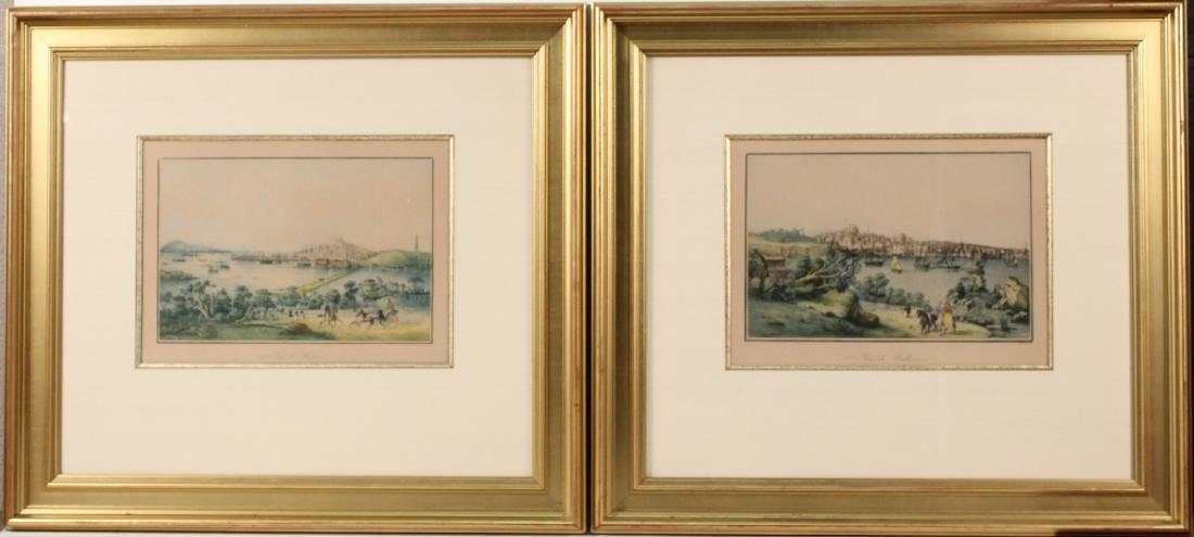 "Two Lithographs ""Vue de Boston""&Vue de Baltimore"