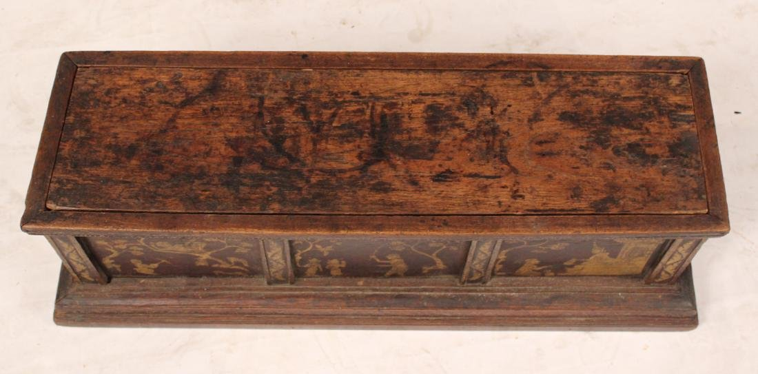 Stencil Decorated Walnut Box - 4