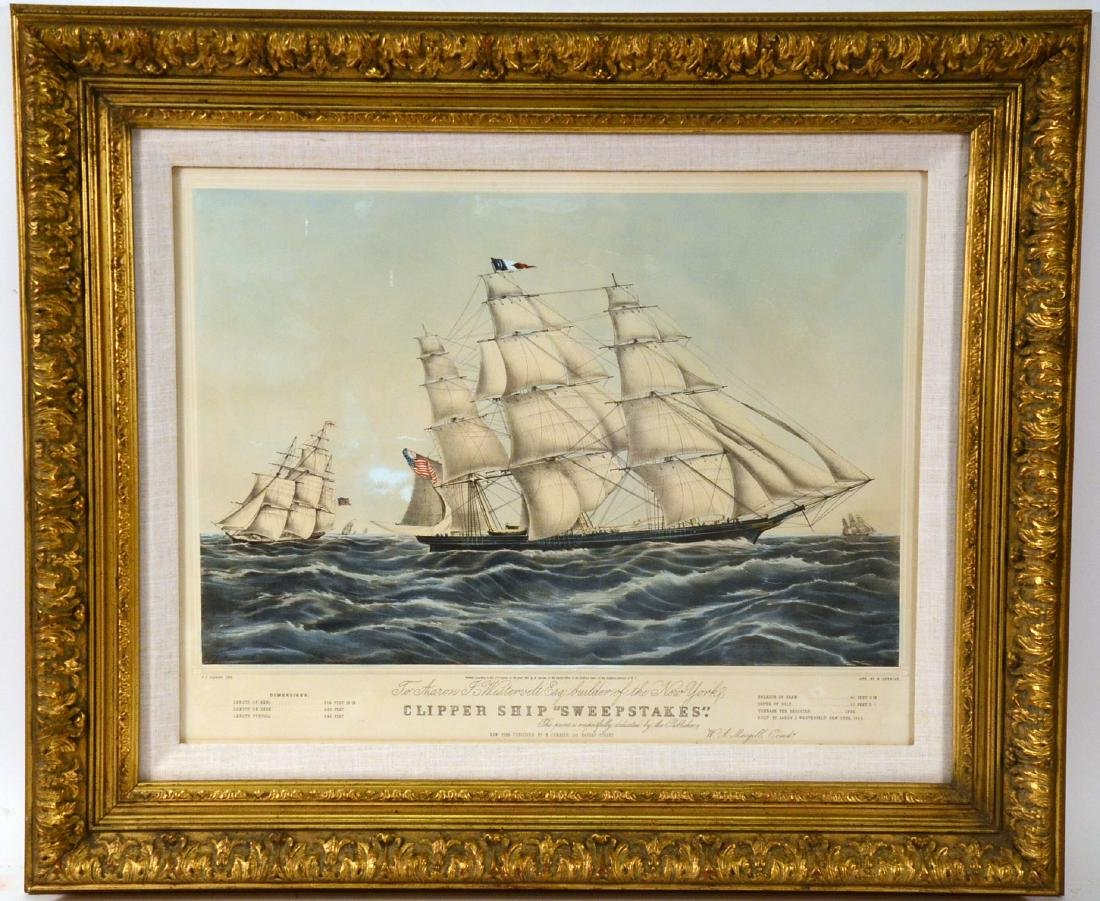 """Lithograph """"Clipper Ship Sweepstakes"""""""