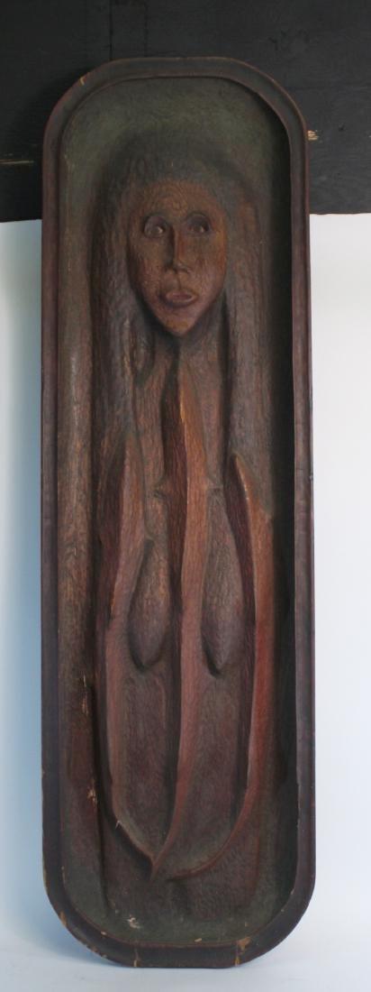 Carved Cedar Bas Relief Wall Plaque, John Hoover