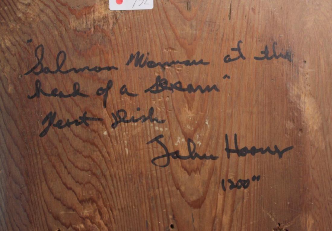 Carved Cedar Bas Relief Wall Plaque, John Hoover - 6