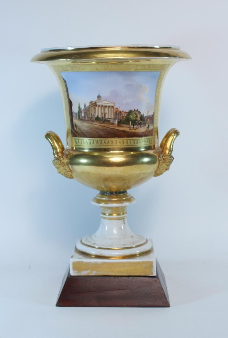 Parcel-Gilt Paris Porcelain Double-Handled Urn