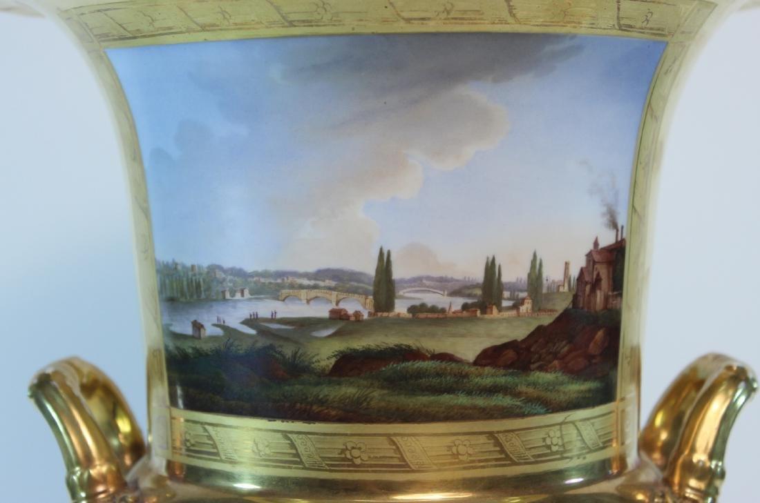 Parcel-Gilt Paris Porcelain Double-Handled Urn - 7