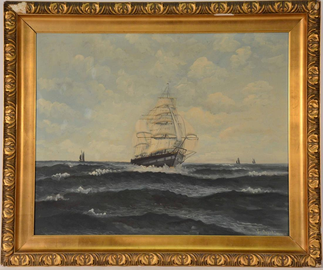 Oil on Canvas Ship at Full Sail