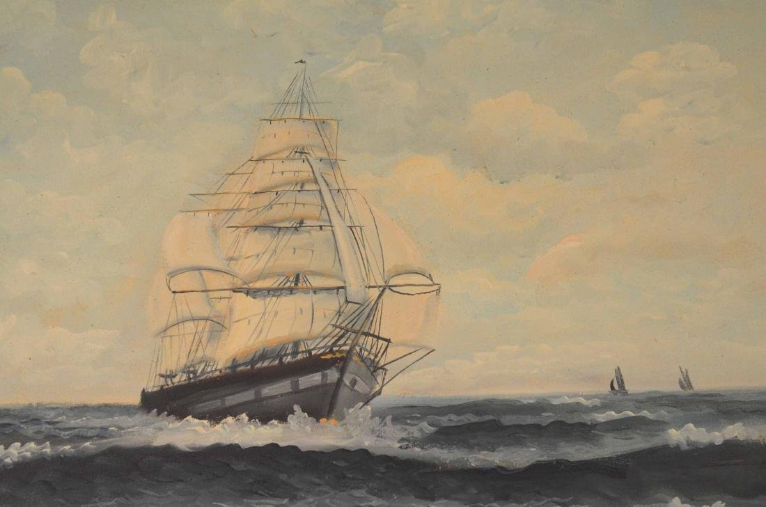 Oil on Canvas Ship at Full Sail - 4
