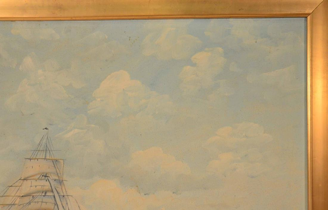 Oil on Canvas Ship at Full Sail - 5