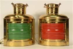 Pair of Brass Ships' Signal Lanterns
