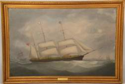 "Oil on Canvas, Clipper Ship ""Mary Moore"""