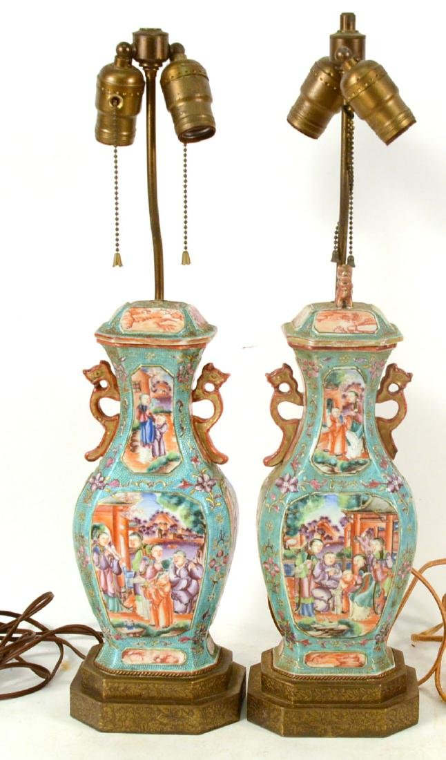 Pair of Chinese Porcelain Covered Jars