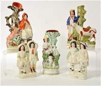 Three Staffordshire Ceramic Figural Spill Vases