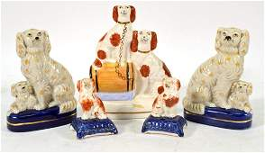 Pair of Miniature Staffordshire Seated Dogs
