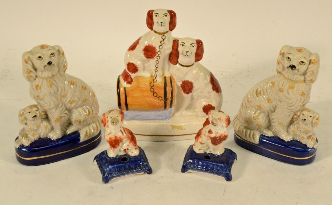 Pair of Miniature Staffordshire Seated Dogs - 2