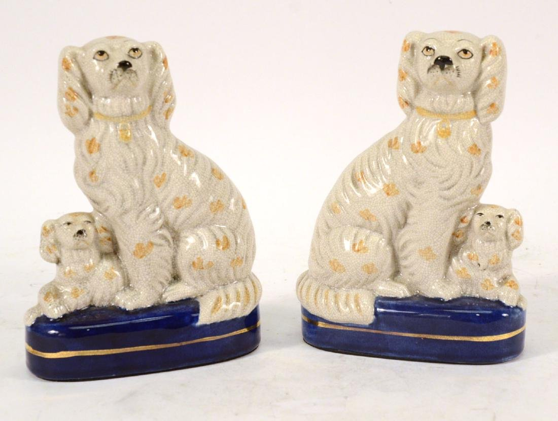 Pair of Miniature Staffordshire Seated Dogs - 6