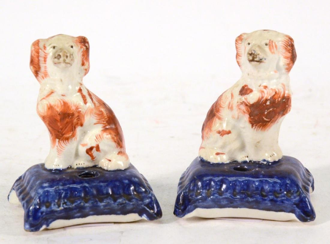 Pair of Miniature Staffordshire Seated Dogs - 9