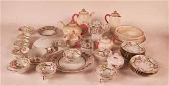 German Pink & White Porcelain Breakfast Service