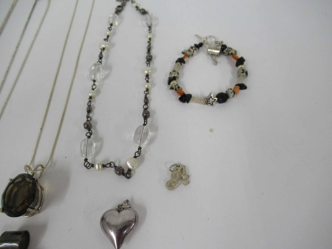 Group of assorted ladies silver costume jewelry - 3