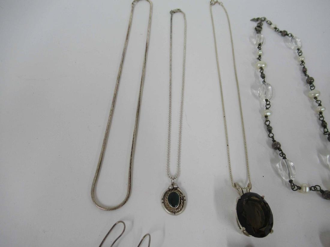 Group of assorted ladies silver costume jewelry - 4
