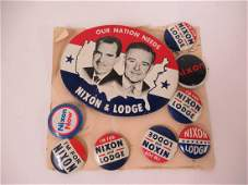 Group of assorted Nixon and Lodge political pins