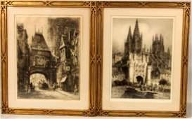 Two Etchings of European Street Scenes
