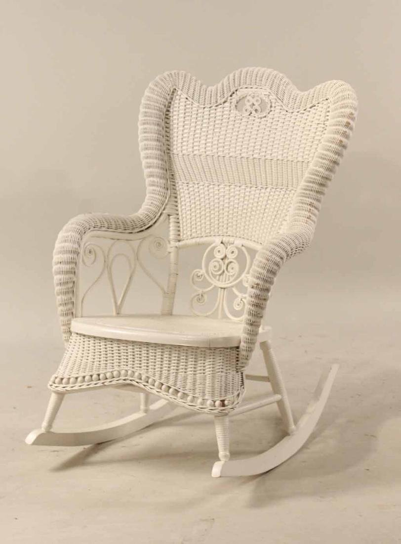 Victorian White Wicker Rocking Chair