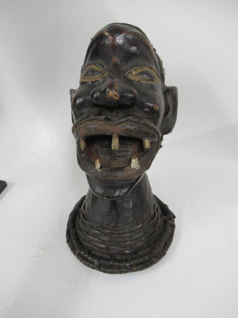 Carved wooden African bust