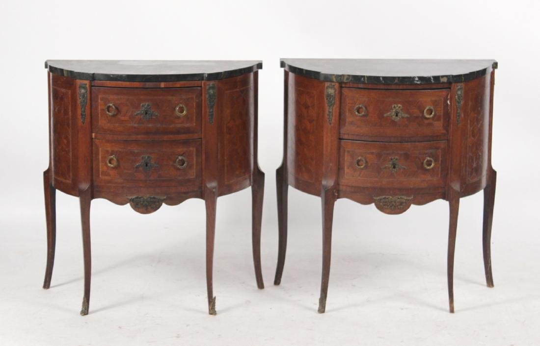 Pair of Louis XV Style Demi-Lune Tables
