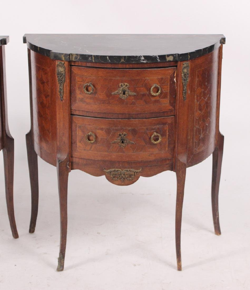 Pair of Louis XV Style Demi-Lune Tables - 2